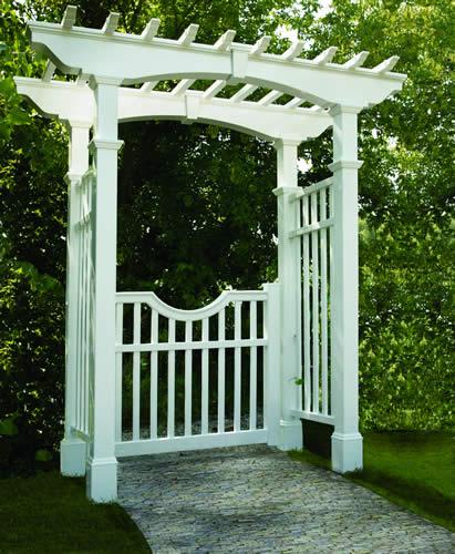 White Vinyl Arbor with Gate
