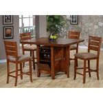 5PC Gramercy Park Mission Oak Counter Dining Table Set