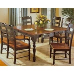 "54"" Square Black & Antique Cherry Wood Dining Table Set"