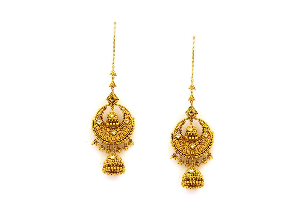 Gold Earrings For Women In India : Luxury Green Gold Earrings For ...