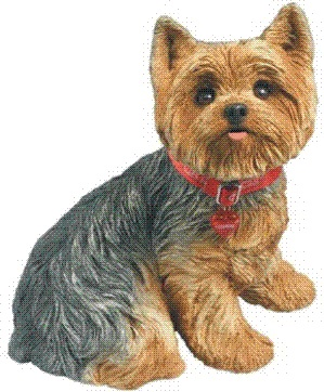 Lawn Ornament Animal Dog Statue Yorkshire Terrier (sitting) 11in l x ...