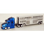 1:43 Scale Tractor Trailer Model, Die Cast Metal Peterbilt 387 with Livestock Cattle Trailer