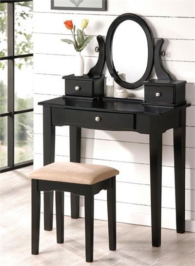 Black Bedroom Vanity on Carina Black Vanity Set W  Bench   Monstermarketplace Com