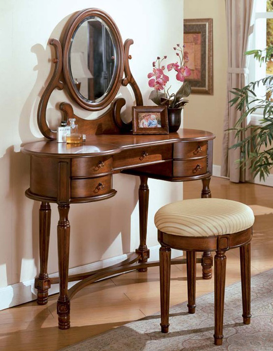 mirrored makeup vanity. Brown Cherry Makeup Vanity
