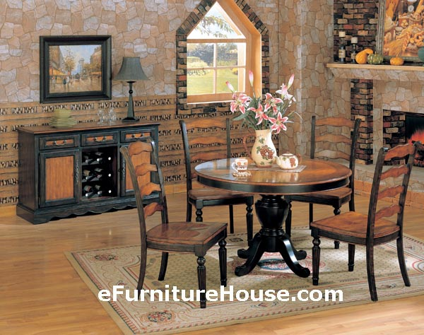 black living room table sets on Longoria Round Pedestal Distressed Black   Brown Wood Dining Table Set