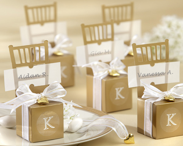 50th Wedding Anniversary Party Favors Miniature Gold Chair Favor Box with