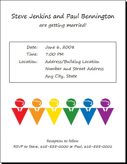 Rainbow Men Gay Wedding Invitation 12 Gay Wedding Invitations Commitment