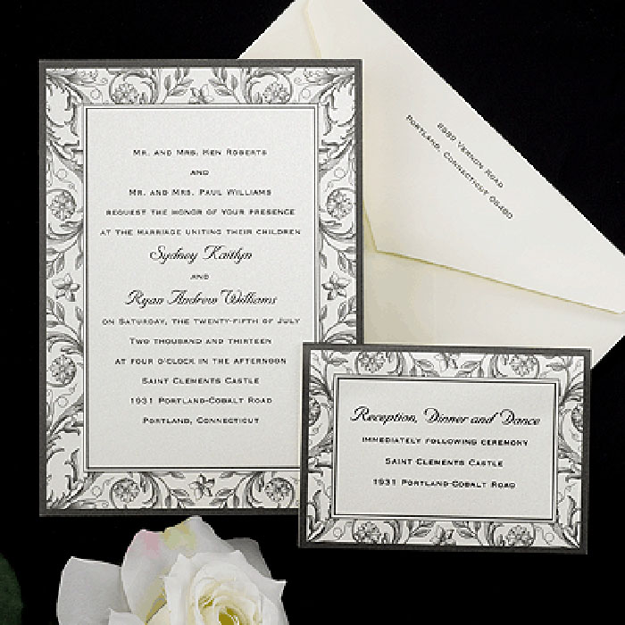Carlson Craft French Country wedding invitation set will be printed with