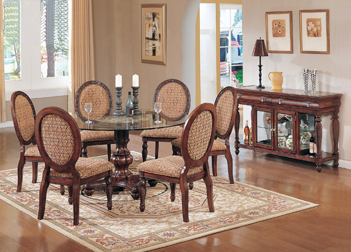 Cherry formal dining room table chairs furniture set ebay for Formal dining room sets round table
