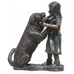 Bronze Sculpture of A Girl with Dog