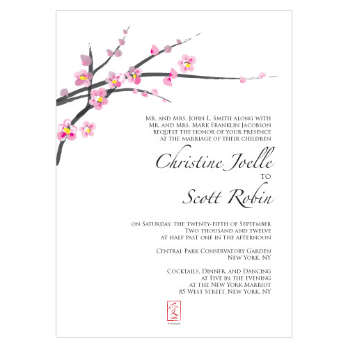 Cherry Blossom Wedding Invitations Personalized Enlarge Image
