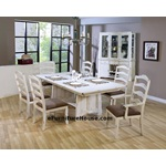 7PC Casual Distressed White Wash Finish Dining Table Set