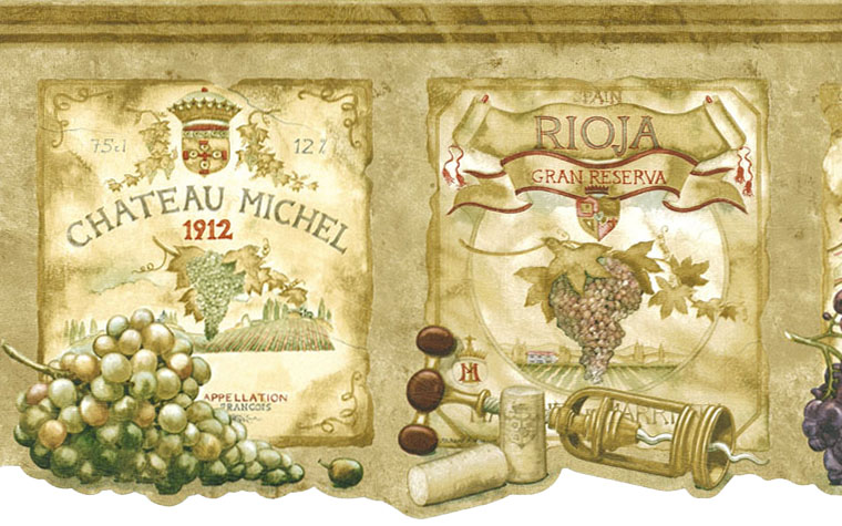 WINE LABELS, GRAPES, TUSCANY WALLPAPER BORDER - 9B1 - AW77384DC