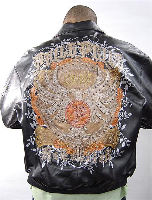 Pelle Pelle Script Crown Blue Leather Jacket 1004 | MonsterMarketplace