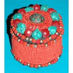 Tibetan Beaded Box with Turquoise & Red Accents