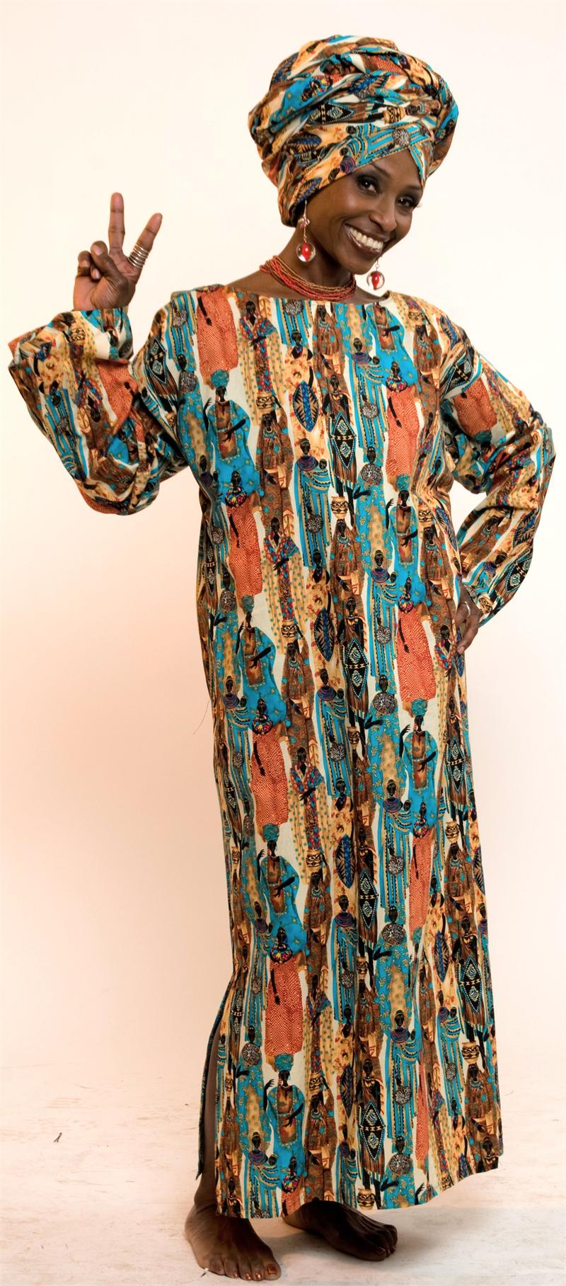 pc. Tribal Figures Authentic African Tunic Dress Set