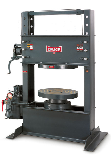 150 Ton Shop Press http://www.monstermarketplace.com/automotive-shop-and-garage-equipment/dake-33-400-150-ton-gasoline-powered-hydraulic-forklift-tire-press