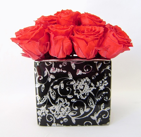 Preserved Event Flowers Red Rose Black Embossed Vase Enlarge Image