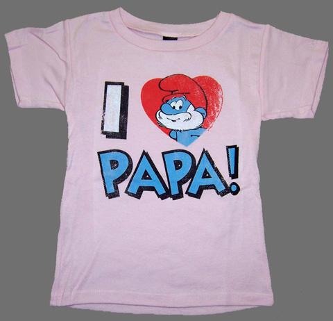 Junk food i heart papa smurf t shirt in pink infant toddler