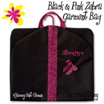 "Travel Bags by Sandra 39"" BLACK & PINK ZEBRA SLIM GARMENT BAG--can be personalized--#2208"