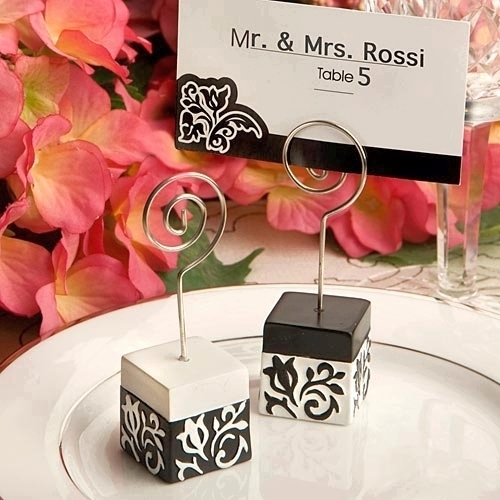 Black and White Damask Wedding Place Card Holders