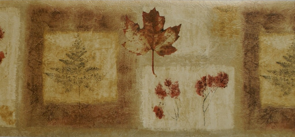 AUTUMN LEAVES CONTEMPORARY WALLPAPER BORDER - 13B4 - B6243