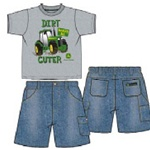 John Deere Toddler 2pc Denim short and tee set
