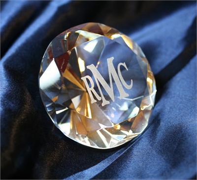1 Monogram Glass Diamond Centerpiece Cake Top Gift 3 Clear Enlarge Image