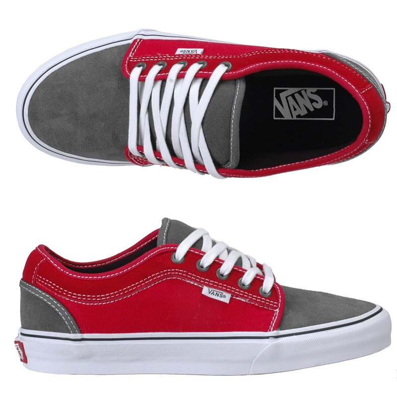 grey chukka low vans with red