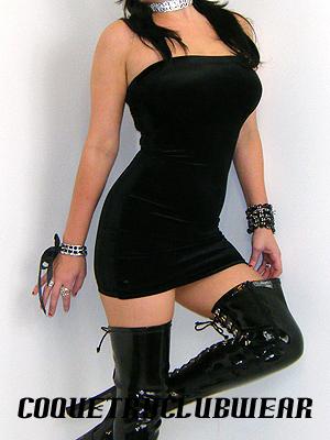 Black Velvet Dress on Black Stretch Velvet 30  Long Mini Dress  Mid Thigh Length
