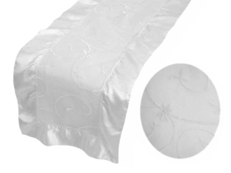 ONEOFAKIND LeafMotif Embroidered Organza With Satin Table Runner