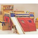 Solid Birch Wood Loft Bed W/ Pop Tent and Slide