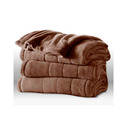 Sunbeam Channeled Microplush Heated Electric Blanket Queen Cocoa Brown - 9813030745