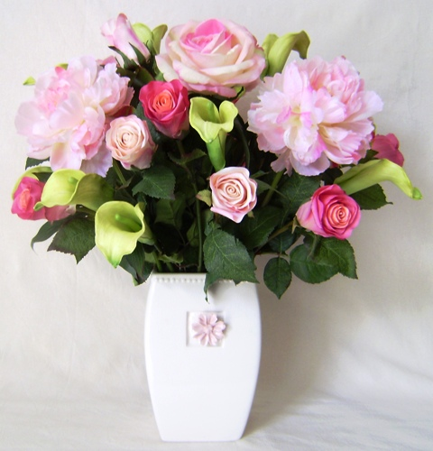 pink rose flower arrangements. Silk Flower Arrangements with