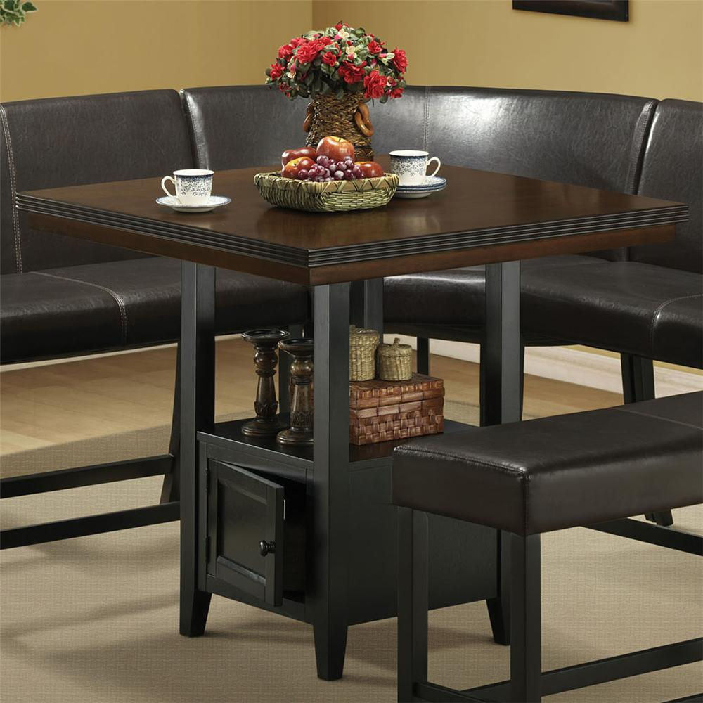 Dining table pub dining table storage for Dining room tables with storage