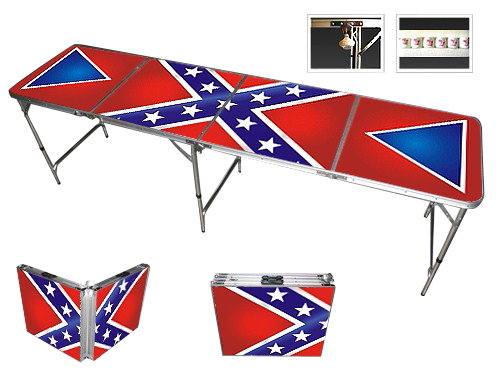 Confederate Rebel Flag Professional Beer Pong Table.