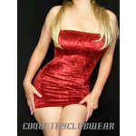 Garnet Red Crushed Velvet Super Short Mini Dress