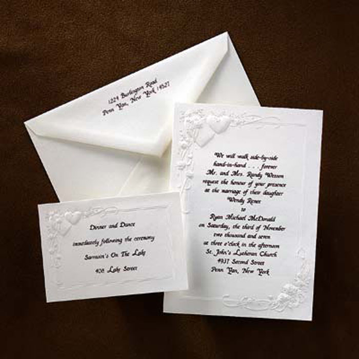 Embossed Heart and Rose Wedding Invitations Set Enlarge Image