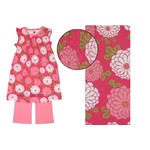 Tea *Chrysanthemum* Hot Pink/Light Pink Stunning Flutter Sleeve Print Dress w/Light Pink Leggings *Sale* Size L 18-24m