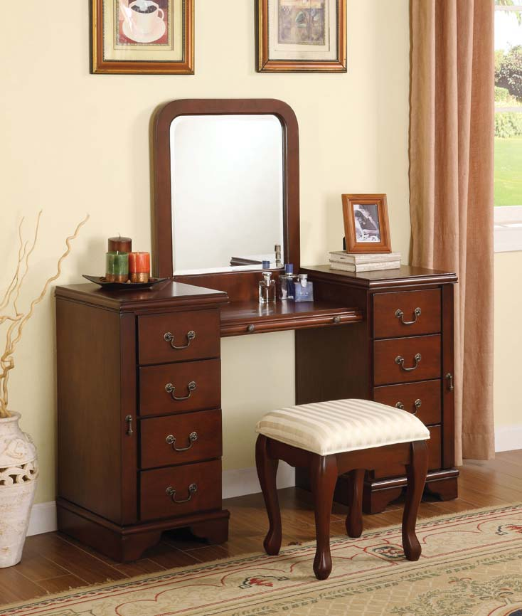 mirrored makeup vanity. Cherry Makeup Vanity Table Set