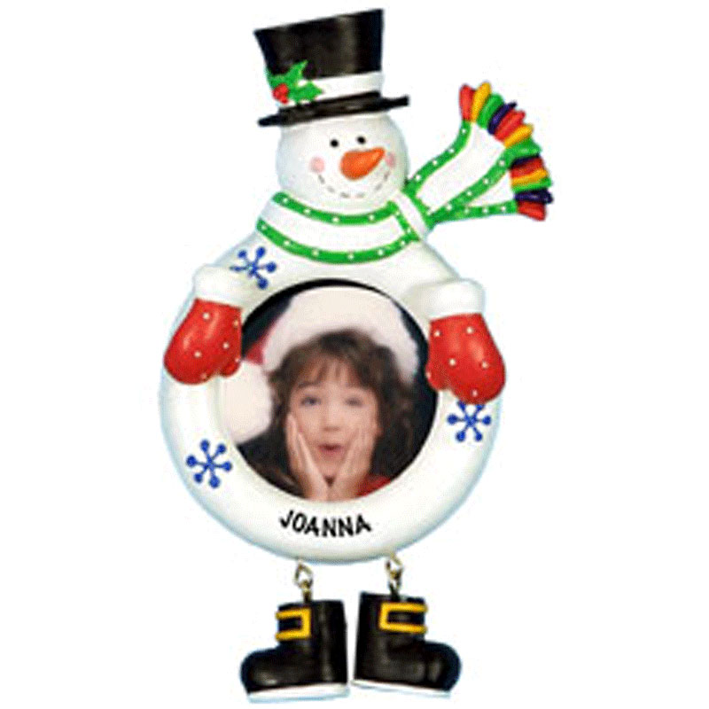 Cheap christmas decorations snowman photograph personalize for Personalized christmas photo ornaments
